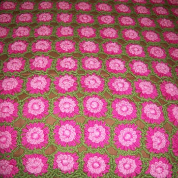 1 of 3 - Afghan - Rose Red Afghan - Vintage - Rugs and Textiles