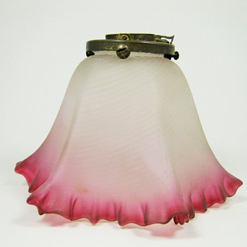 Kralik Cranberry Satin finished art glass lamp shade ca. 1900