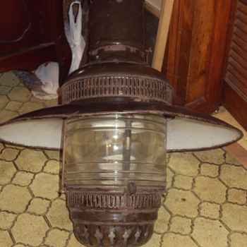 large antique oil lamp