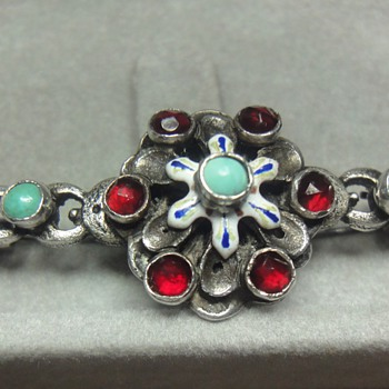 AUSTRO-HUNGARIAN SILVER TURQUOISE BROOCH  - Fine Jewelry
