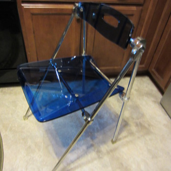 mid century modern blue acrylic folding chair
