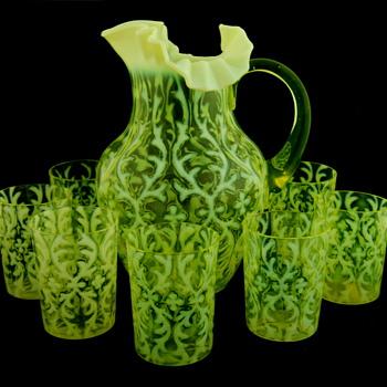 Northwood Spanish Lace Vaseline Opalescent Water Set - Glassware