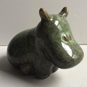 Modern green glaze ceramic hippo figurine