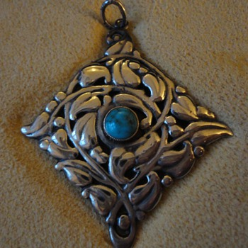 Silver & turquoise floral pendant by Murrle Bennett & Co - Fine Jewelry