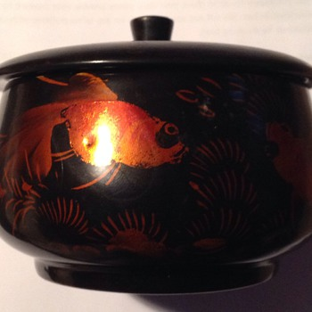 Japanese/Asian Lacquer bowl with koi carp design