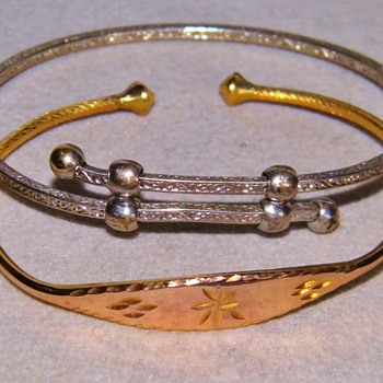 Antique Victorian/ Georgian Etched 18k Sterling Silver Baby Bangle Bracelets Cuff
