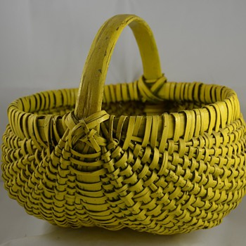 Painted Basket Bright Yellow Buttocks or melon baskets Primitive - Folk Art