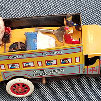vintage tin bus and truck
