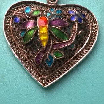 Beautiful 835 Silver Filigree & Enamel Pendant - Fine Jewelry