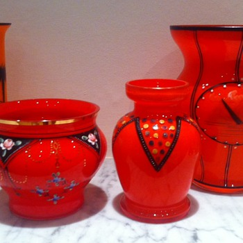 Enamelled tango vases - any identifiable?