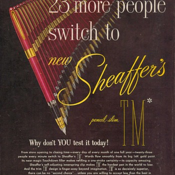 1952 - Sheaffer&#039;s Pens Advertisement - Advertising
