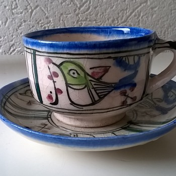Funny Little Cup & Saucer, Flea Market Find, $1.50 - Art Pottery
