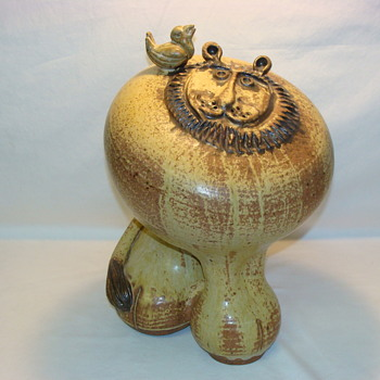Studio Art Pottery Lion with Bird Vintage Mid Century