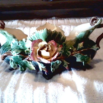 Victorian Era French Barbotine Majolica Circa 1890's / Rose and Vine Centerpiece Bowl / Stunning !