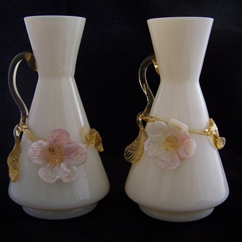 Stevens Williams Applied Milk Glass Vase Set - Art Glass