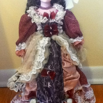 Brunette Duck House Porcelain Doll