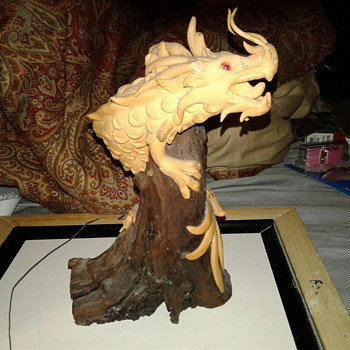 Sculpted Dragon Climbing on Petrified Wood - Animals