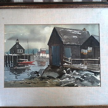 "James Philip Feriola (1928-1997) Watercolor on Paper ""Fishing Cove"" 30""x 24"" Framed/Circa 1950-60 - Visual Art"