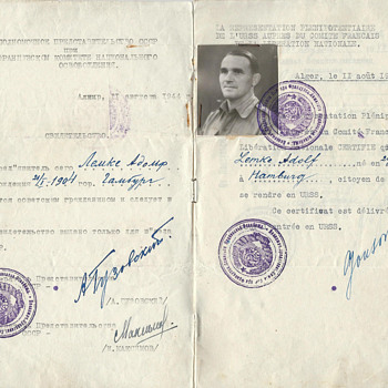 1944 Soviet travel document/passport from Algeria