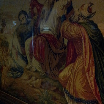 Huge Antique Wool Work Of Moses
