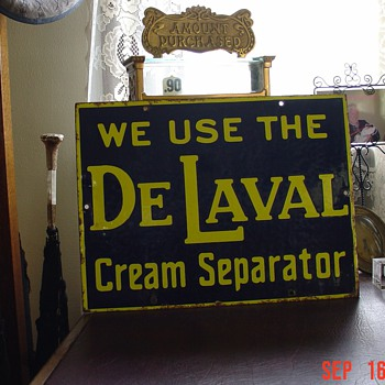 DeLaval...We Use The Cream Separator... Porcelain Sign...Two Colors...Early 1900's