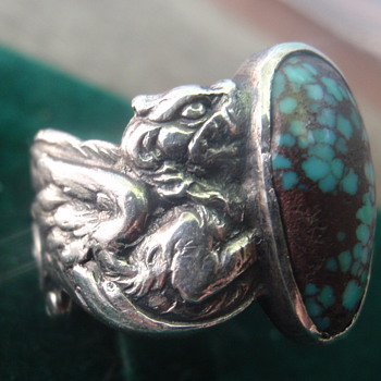 Art Nouveau turquoise & silver ring - Art Nouveau
