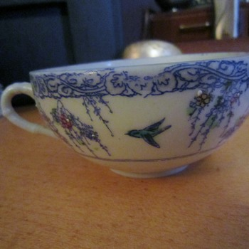 Antique Eggshell Porcelain Beaded Tea Cup
