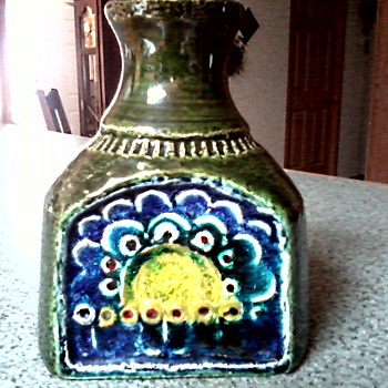 Studio Art Pottery Vase / Bottle / Sun and Flowers Abstract / Marked # 429