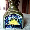 SMF  Schramberg West German Lava Ceramic Vase / Sun and Flowers Abstract / Marked # 429