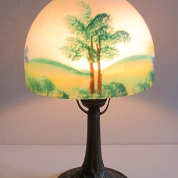 CZECH DECO EXPORT: RUCKL PAINTED LAMP.
