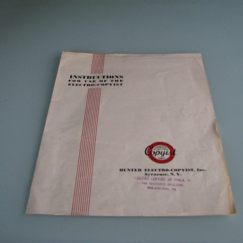 Photosensitive paper & instructions for Hunter Electro-Copyist - Office