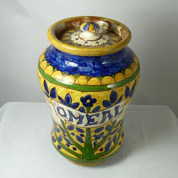 Pair of Carlo Manzoni (ex Della Robbia Pottery) Jars - Tapioca and Oatmeal - Pottery