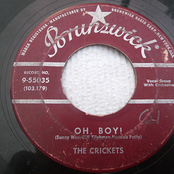 "1957 The Crickets ""Oh Boy"" and ""Not Fade Away"" 45rpm  - Records"
