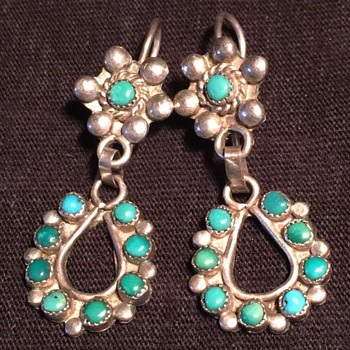 Old vintage Sterling silver turquoise dangle earrings Navajo Zuni style - Fine Jewelry