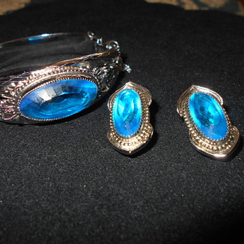 Whiting and Davis cuff bracelet and clip earrings