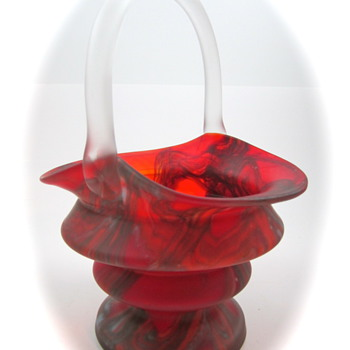Kralik Furnace Decorated Czech Glass Basket, ca. 1930s - Art Glass