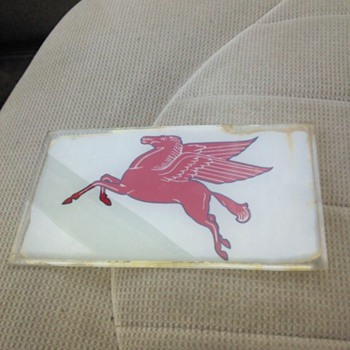 Mobil Pegasus Ad Glass Original Not Reproduction - Petroliana