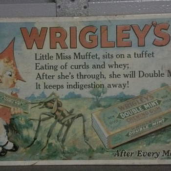 Wrigley's Little Miss Muffet Tin Sign. - Signs