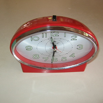 1950's  Mid- Century Modern Atomic Red and Chrome Clock Japan