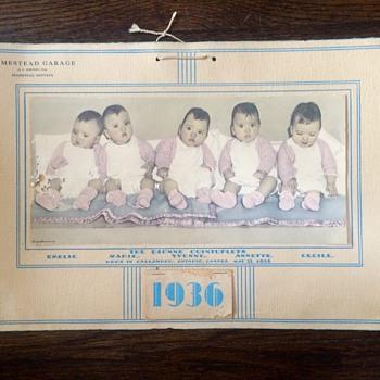 1936 Dionne Quintuplets Gas Station Calendar