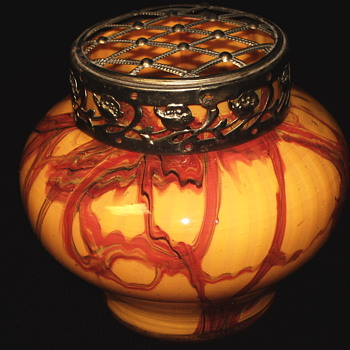 "KRALIK CZECH ART DECO FURNACE DECORATED VASE W/FLOWER FROG,""circa. 1930s"