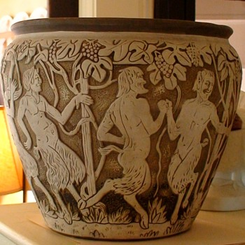 RARE ANTIQUE WELLER DECHIWO JARDINIERE WITH DANCING SATYR DESIGN SIGNED R. LORBER