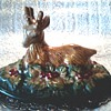 Faience or Majolica Deer Figurine with Silver Oval Tray/Unknown Maker and Age