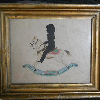 rocking horse drawing with a child silhouette - Folk Art