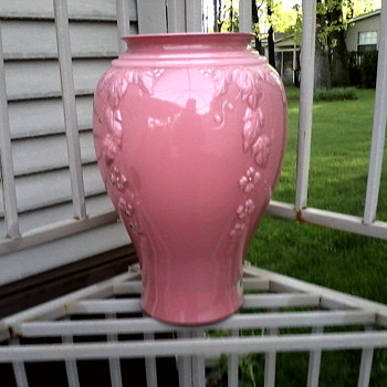 "Anchor Hocking Baked Enamel Interior 16""  ""Cascade"" Vase in Prairie Pink / Circa 1980's ??"