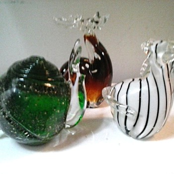 Glass Menegerie / Three Animal Paperweights / Unknown Maker and Age
