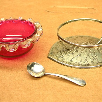CZECH CRANBERRY OPEN SALT WITH SILVERPLATED STAND AND SPOON. - Art Glass