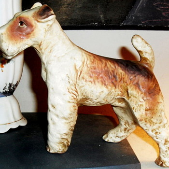 Antique matte porcelain  dogs  - Animals