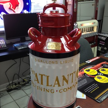 Embossed Atlantic Refining Company Five Gallon Oil Can - Petroliana