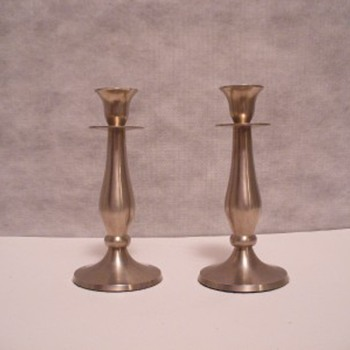Beautiful pair of Pewter candlestick holders - Lamps